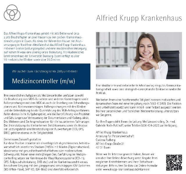 Alfried Krupp Krankenhaus, Essen: Medizincontroller (m/w)