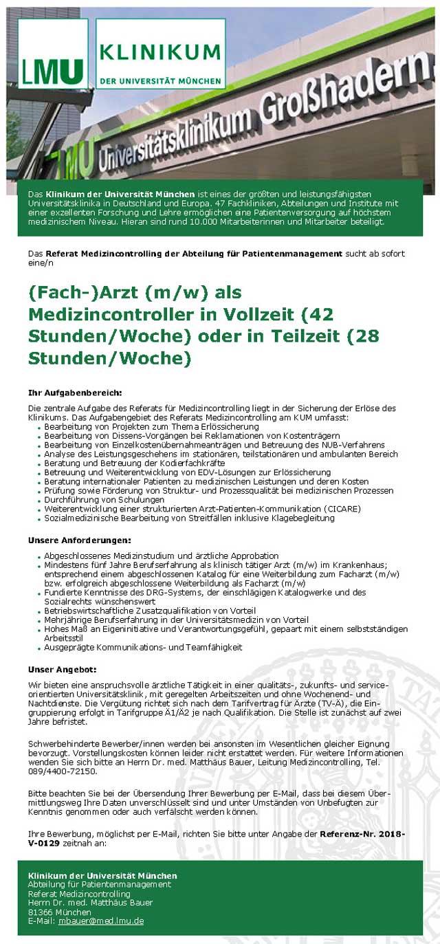 Klinikum der Universität München: (Fach-)Arzt als Medizincontroller (m/w)