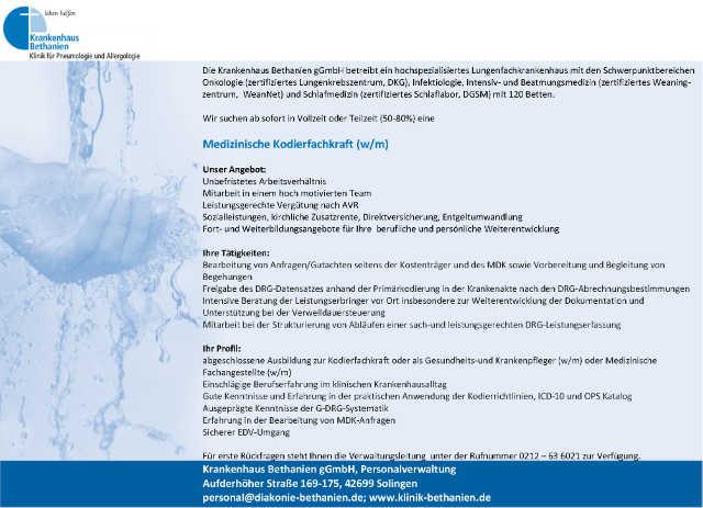 Krankenhaus Bethanien Solingen gGmbH: Medizinische Kodierfachkraft (w/m)