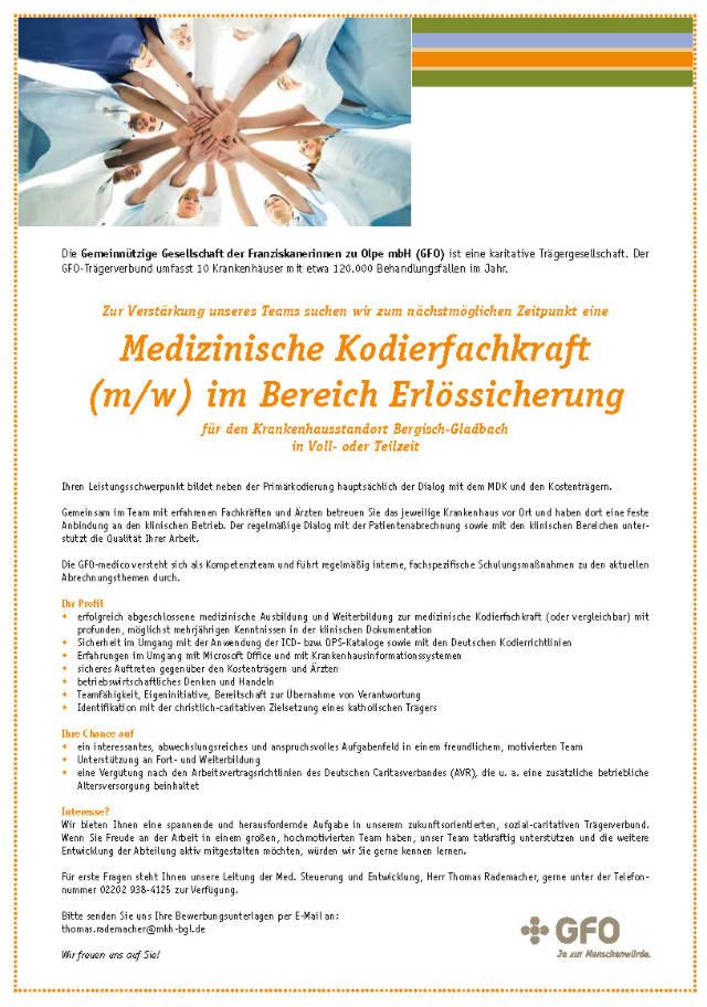 GFO-Kliniken Rhein Berg, Bergisch-Gladbach: Medizinische Kodierfachkraft (m/w)