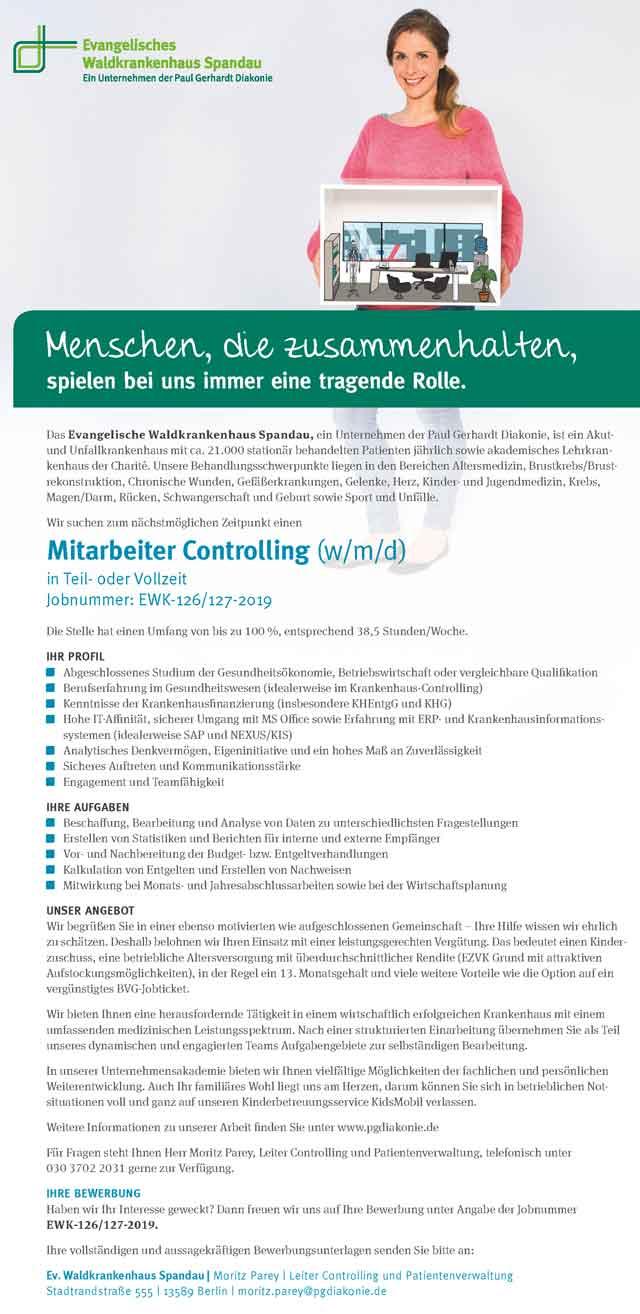 Ev. Waldkrankenhaus Spandau: Mitarbeiter Controlling (w/m/d)