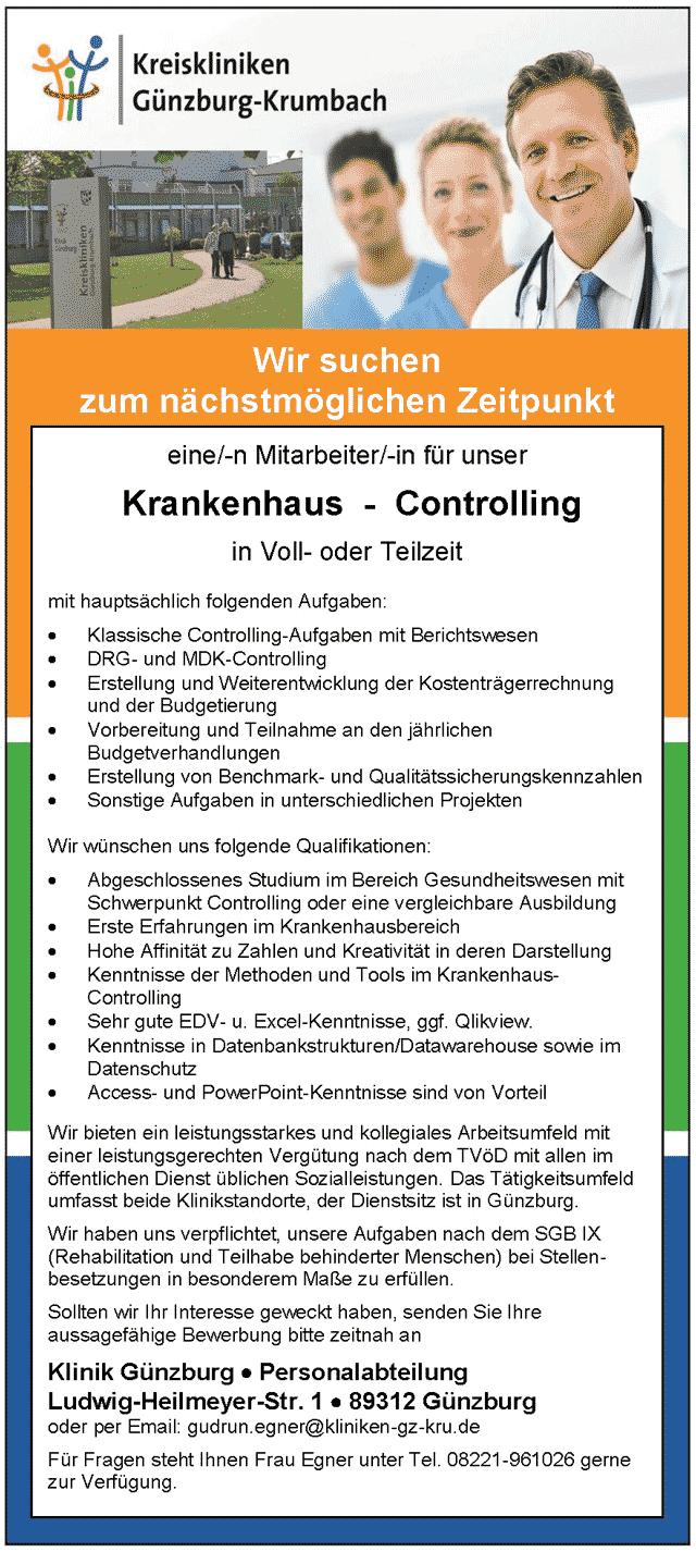 Kreiskliniken Günzburg-Krumbach: Mitarbeiter Krankenhaus-Controlling (m/w/d)