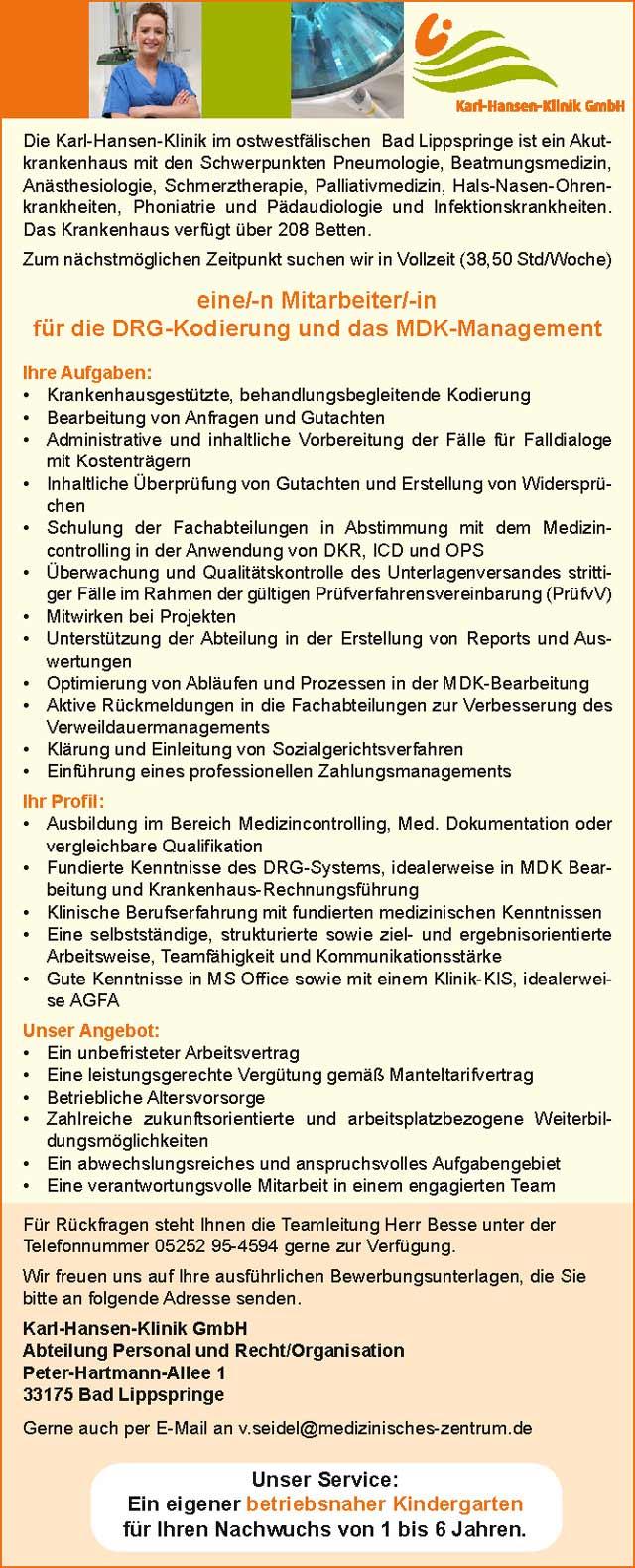 Karl-Hansen-Klinik GmbH, Bad Lippspringe: Mitarbeiter DRG-Kodierung / MDK-Management (m/w)