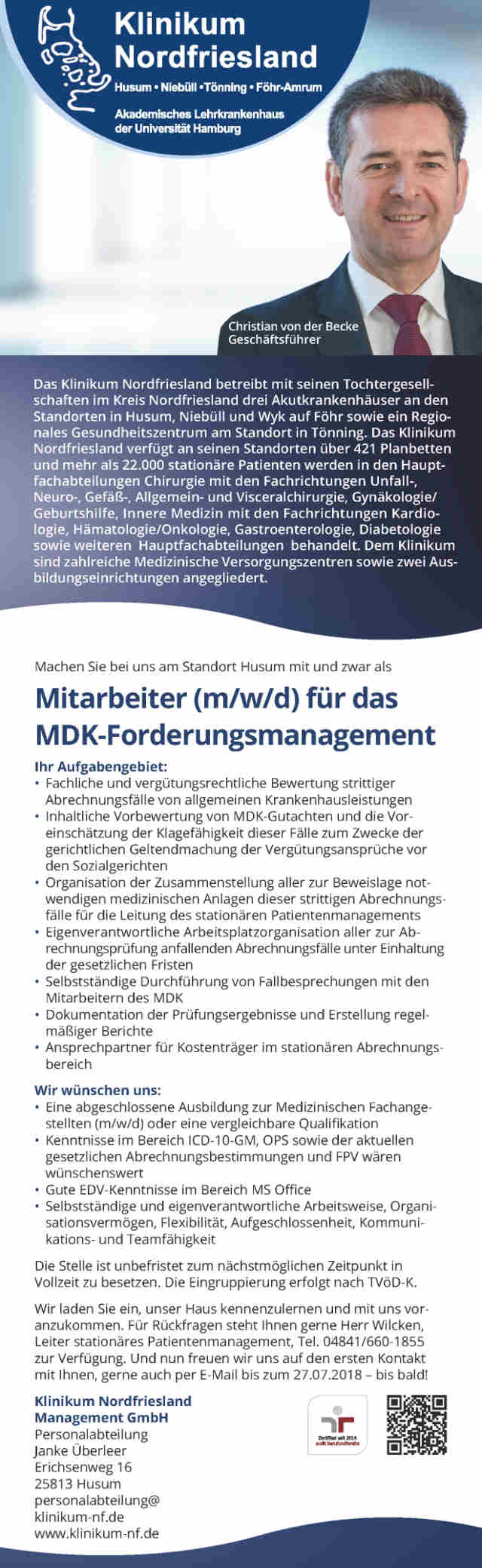 Klinikum Nordfriesland, Husum: Mitarbeiter MDK-Forderungsmanagement (m/w/d)