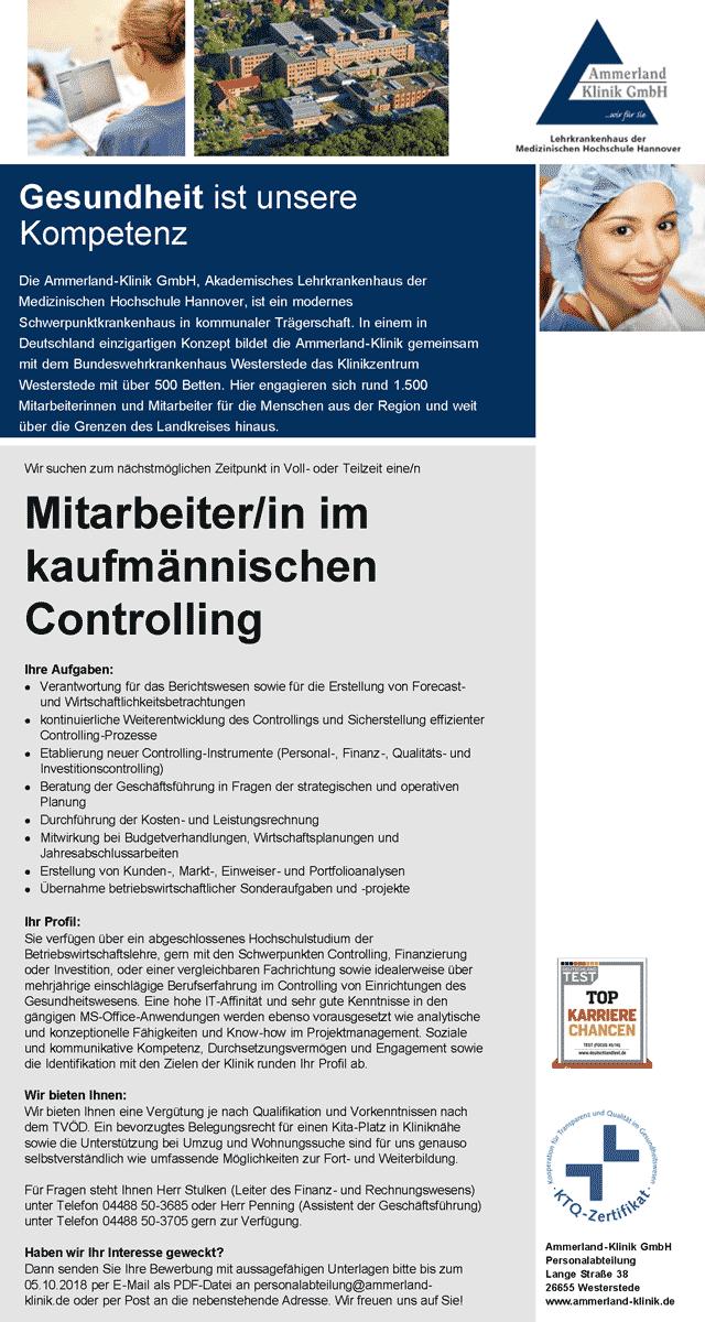 Ammerland-Klinik GmbH Westerstede: Mitarbeiter kaufmännisches Controlling (m/w)