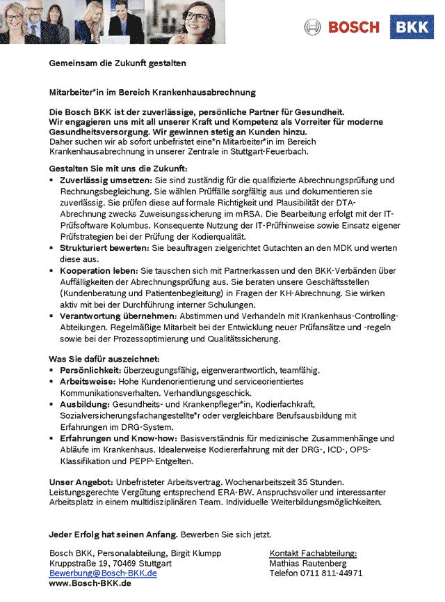 Bosch BKK: Mitarbeiter Krankenhausabrechnung (m/w/d)