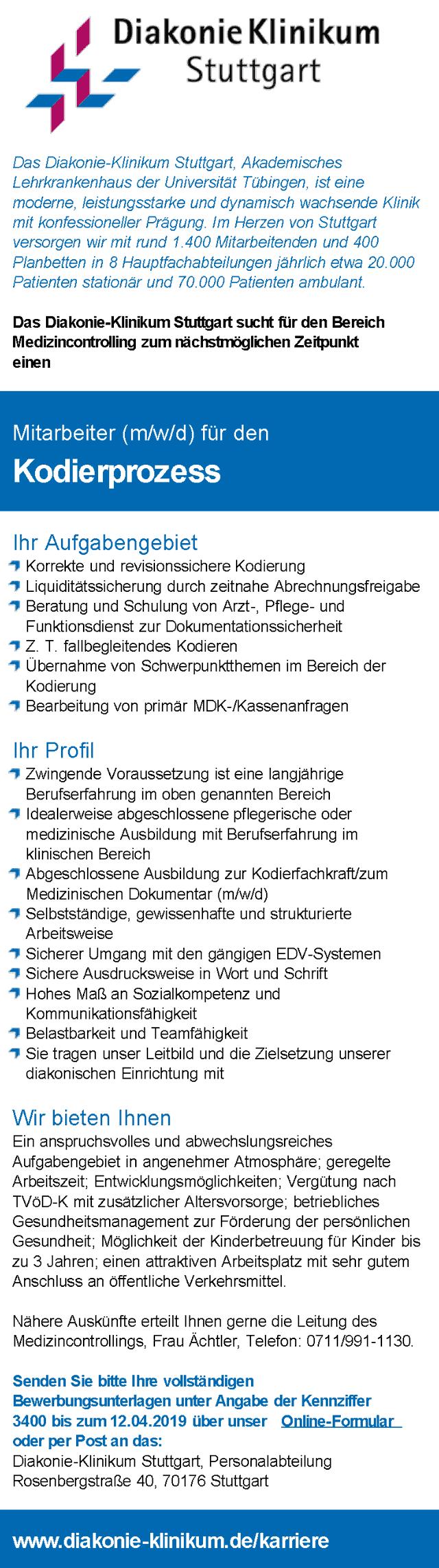 Diakonie-Klinikum Stuttgart: Mitarbeiter Kodierprozess (m/w/d)