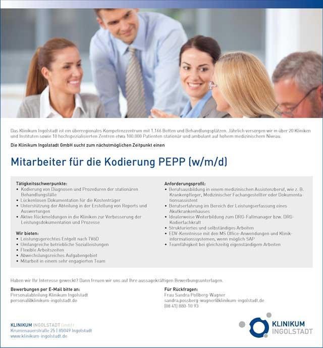 Klinikum Ingolstadt GmbH: Mitarbeiter für die Kodierung PEPP (w/m/d)