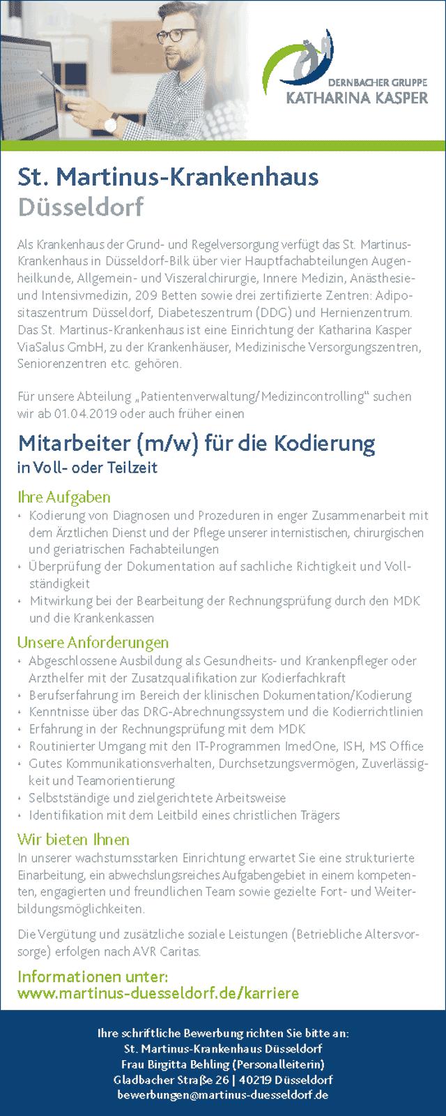 St. Martinus Krankenhaus Düsseldorf: Mitarbeiter f.d. Kodierung (m/w)