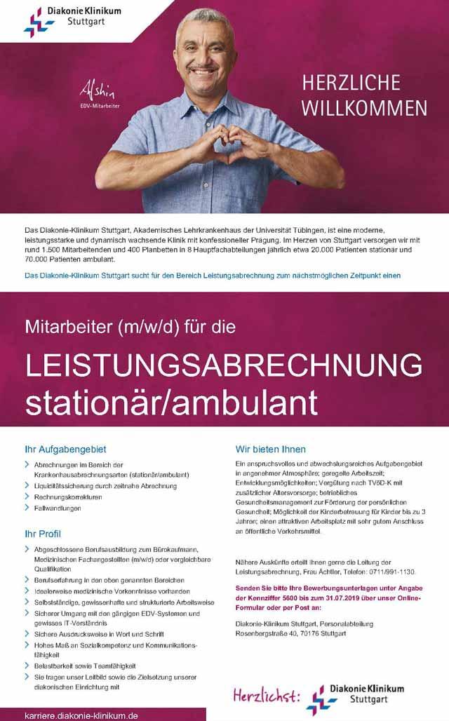 Diakonie-Klinikum Stuttgart: Mitarbeiter Leistungsabrechnung stationär / ambulant (m/w/d)