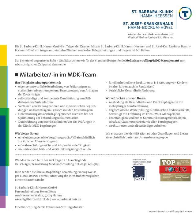 St. Barbara-Klinik Hamm GmbH: Mitarbeiter MDK-Team (m/w)