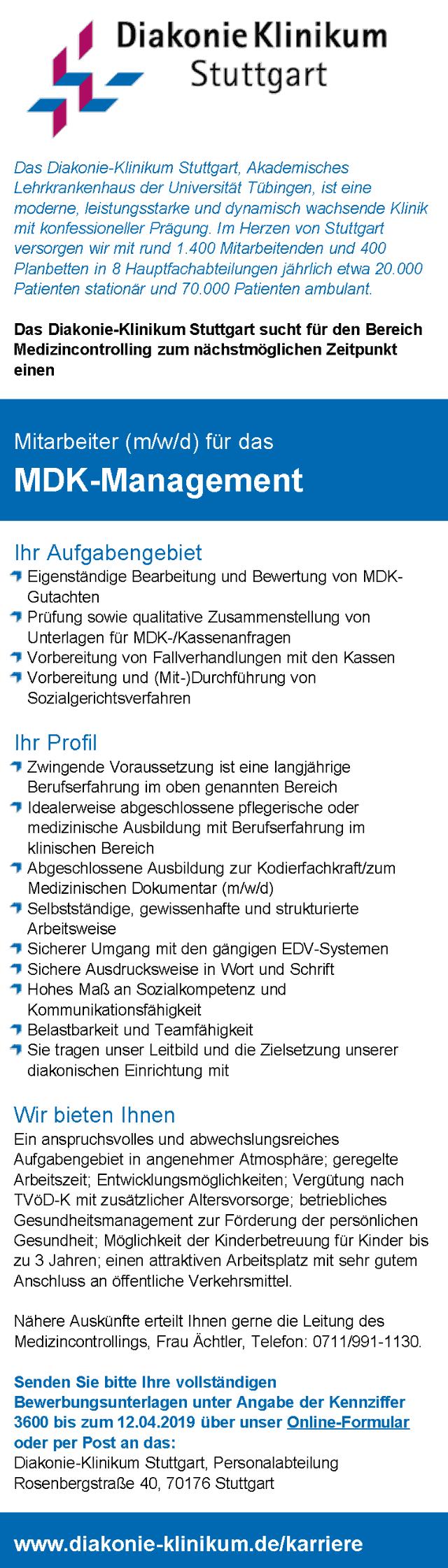 Diakonie-Klinikum Stuttgart: Mitarbeiter MDK-Management (m/w/d)