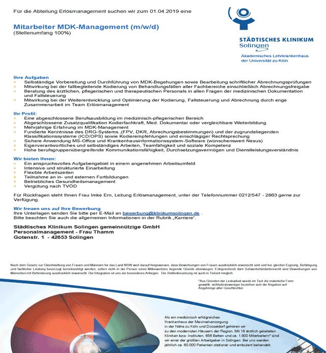 Städtisches Klinikum Solingen gemeinnützige GmbH: Mitarbeiter MDK-Management (m/w/d)