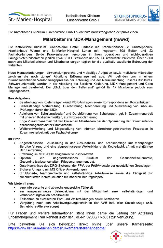 Katholisches Klinikum Lünen: Mitarbeiter MDK-Management (m/w/d)