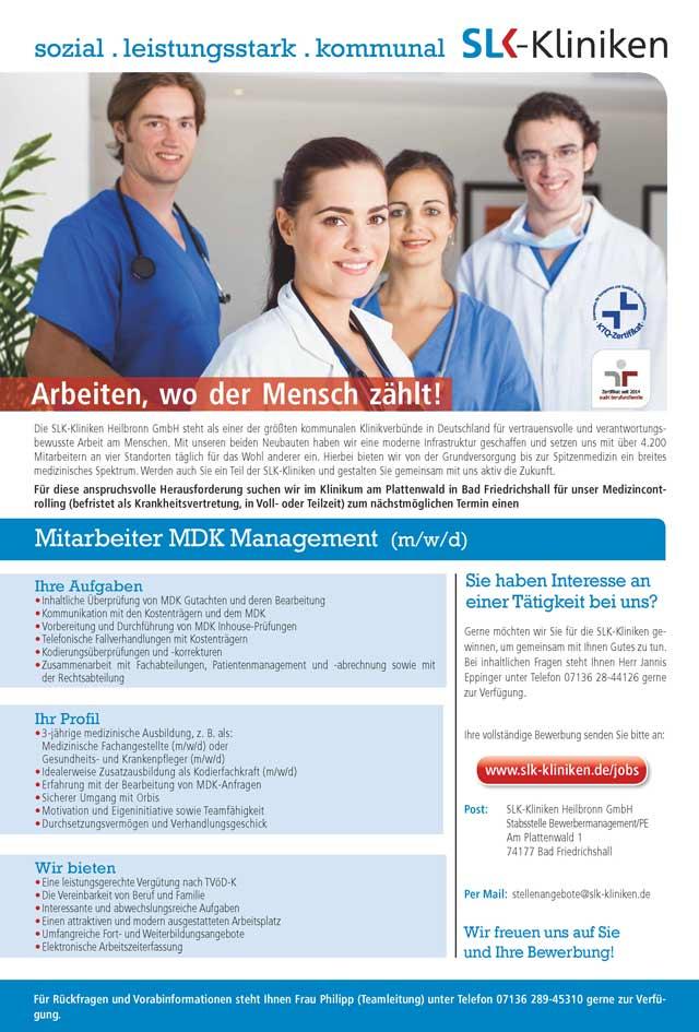SLK-Kliniken Heilbronn GmbH: Mitarbeiter MDK Management (m/w/d)