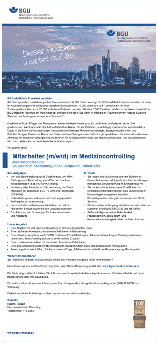 BG Unfallklinik Frankfurt am Main gGmbH: Mitarbeiter Medizincontrolling (m/w/d)
