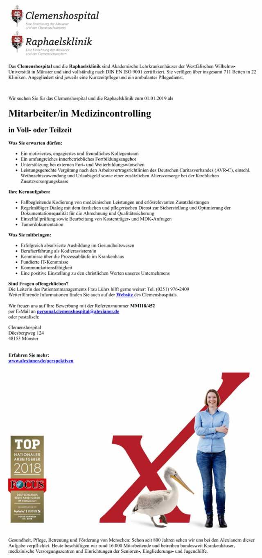 Clemenshospital und Raphaelsklinik, Münster: Mitarbeiter Medizincontrolling (w/m)