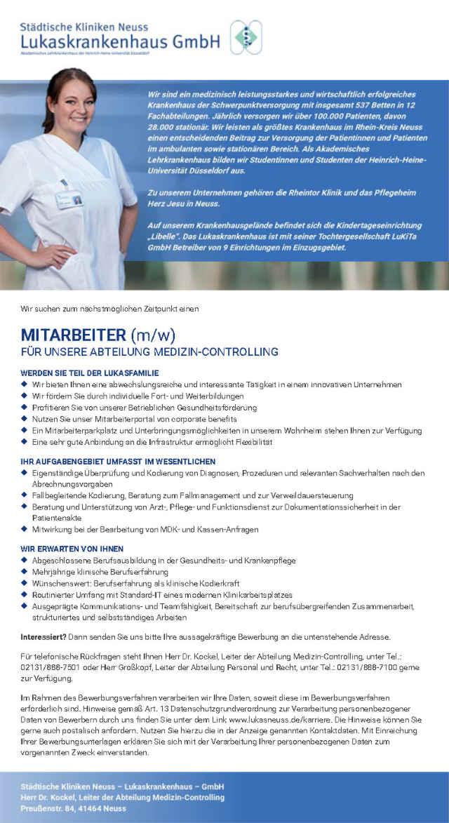 Städtische Kliniken Neuss - Lukaskrankenhaus GmbH: Mitarbeiter Medizincontrolling (m/w)
