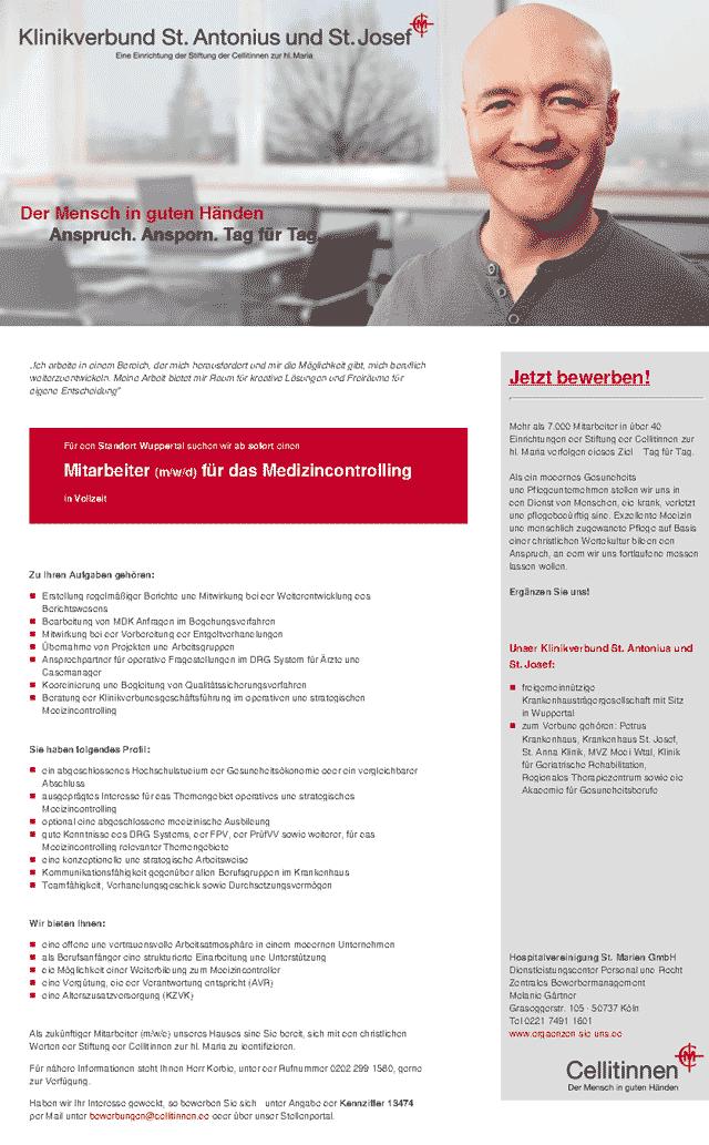 Klinikverbund St. Antonius und St. Josef: Mitarbeiter Medizincontrolling (m/w/d)