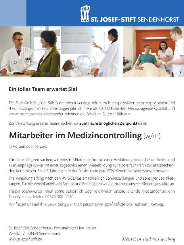 St. Josef-Stift Sendenhorst: Mitarbeiter Medizincontrolling (w/m)
