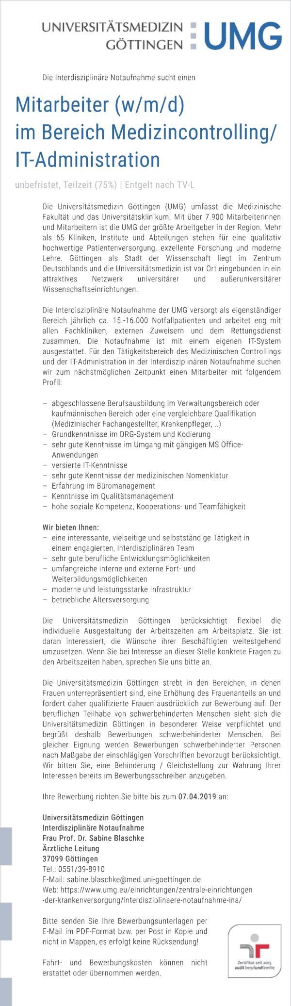 Universitätsmedizin Göttingen: Mitarbeiter Medizincontrolling / IT-Administration (w/m/d)