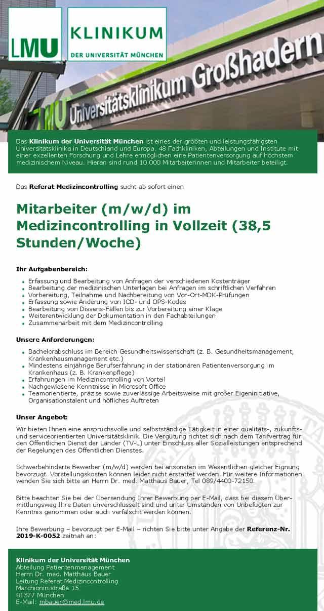 Klinikum der Universität München: Mitarbeiter Medizincontrolling (m/w/d)