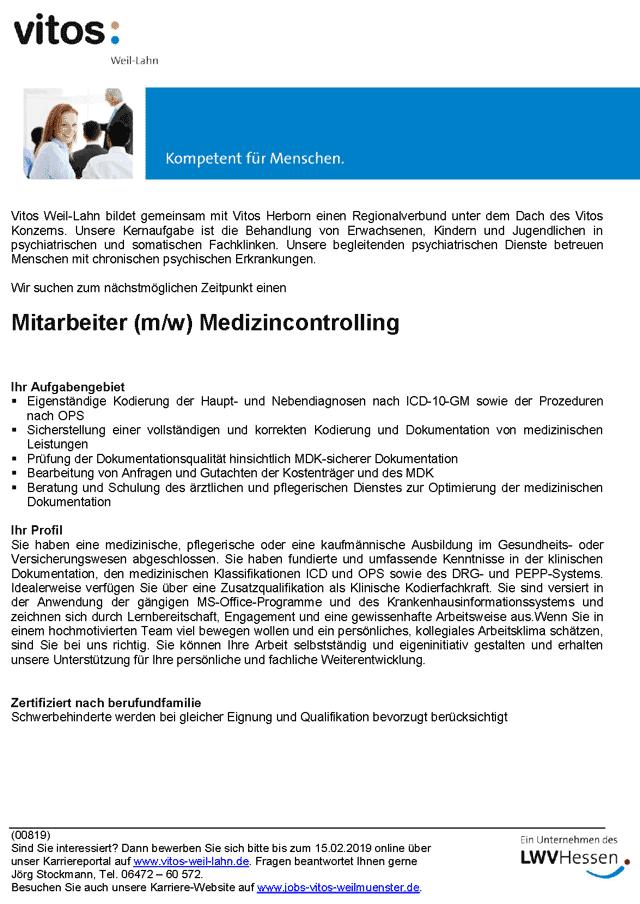 Vitos Weil-Lahn, Weilmünster: Mitarbeiter Medizincontrolling (m/w)