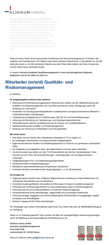 Klinikum Hanau GmbH: Mitarbeiter Qualitäts- und Risikomanagement (m/w/d)