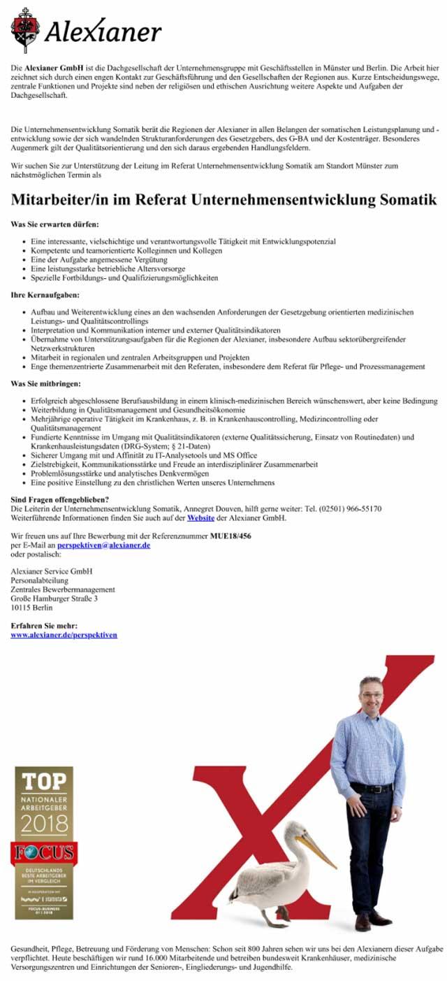 Alexianer GmbH, Münster: Mitarbeiter Referat Unternehmensentwicklung Somatik (m/w)