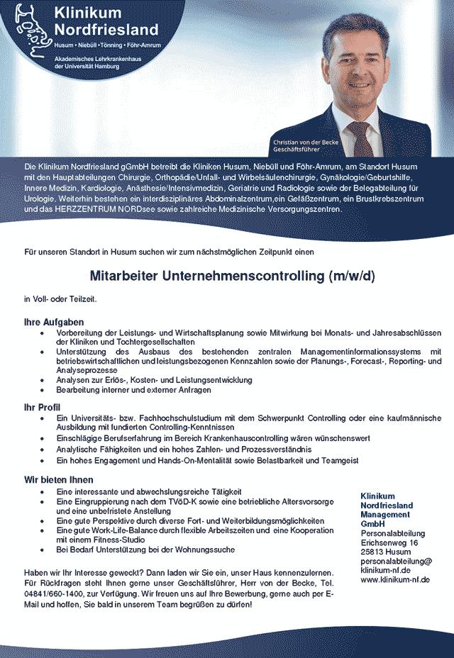 Klinikum Nordfriesland gGmbH, Husum: Mitarbeiter Unternehmenscontrolling (m/w/d)