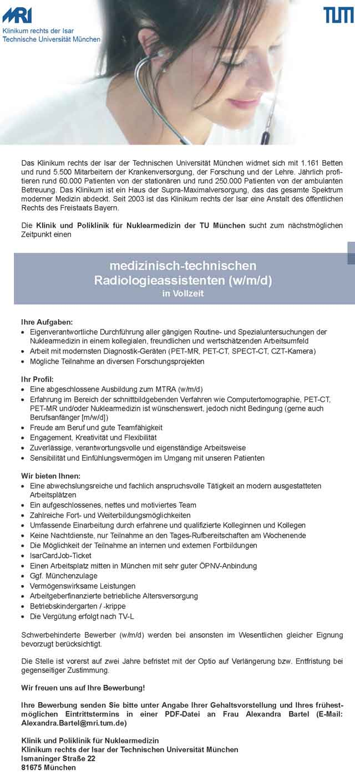 Klinikum rechts der Isar München: Medizinisch technischer Röntgenassistent (w/m/d)