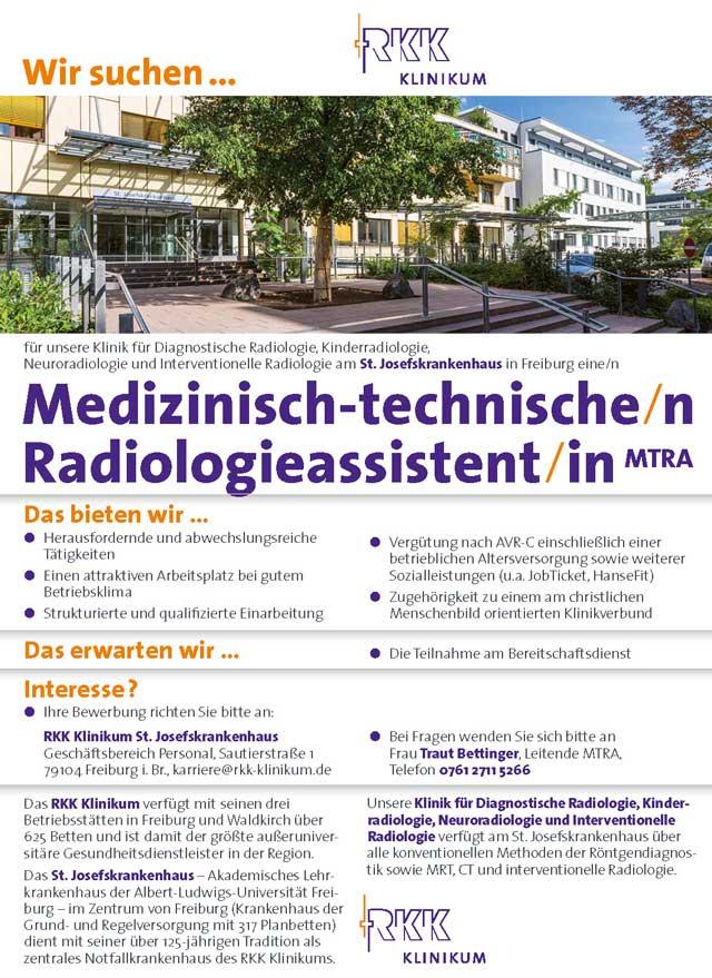 St. Josefskrankenhaus Freiburg: Medizinisch technische Radiologieassistenz (m/w/d)