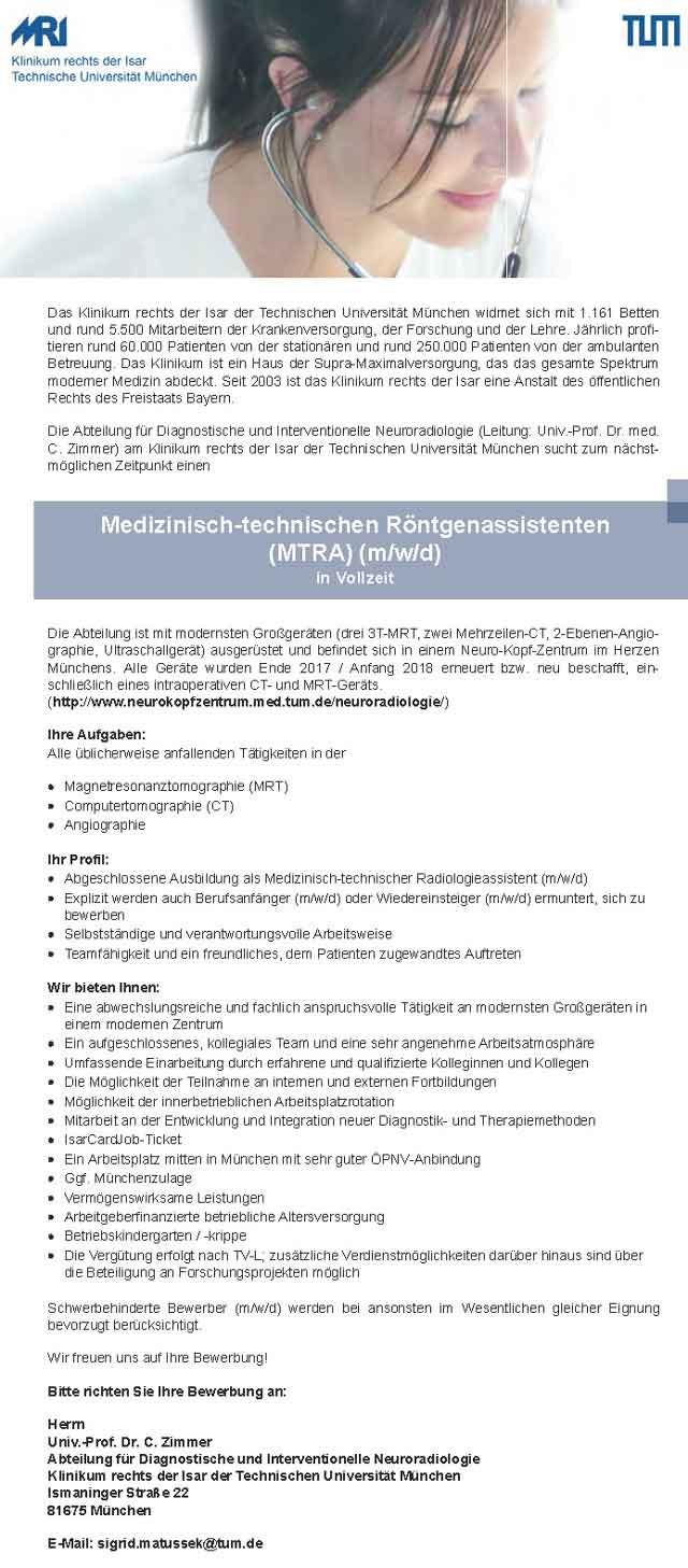 Klinikum rechts der Isar, München: Medizinisch-technischer Röntgenassistent (MTRA) f. Neuroradiologie (w/m/d)