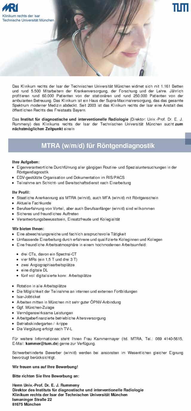 Klinikum rechts der Isar, München: Medizinisch-technischer Röntgenassistent (MTRA) f. Röntgendiagnostik (w/m/d)