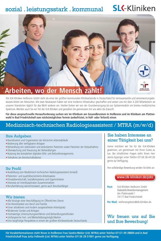 SLK-Kliniken Heilbronn GmbH: Medizinisch-technische Radiologieassistenz / MTRA (m/w/d)
