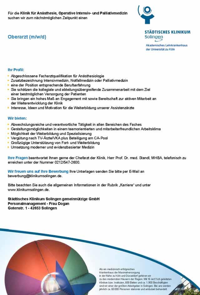 Städtisches Klinikum Solingen: Oberarzt (m/w/d)