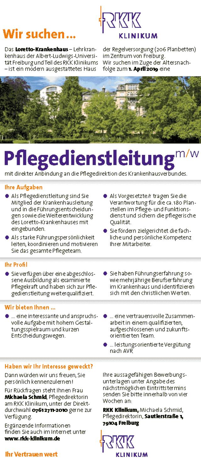 Loretto-Krankenhaus, Freiburg: Pflegedienstleitung (m/w)