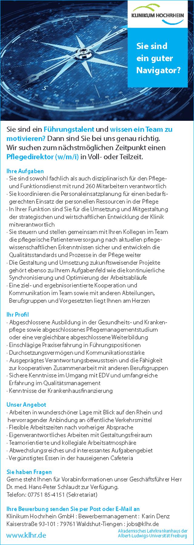 Spitäler Hochrhein GmbH, Waldshut-Tiengen: Pflegedirektor (w/m/i)