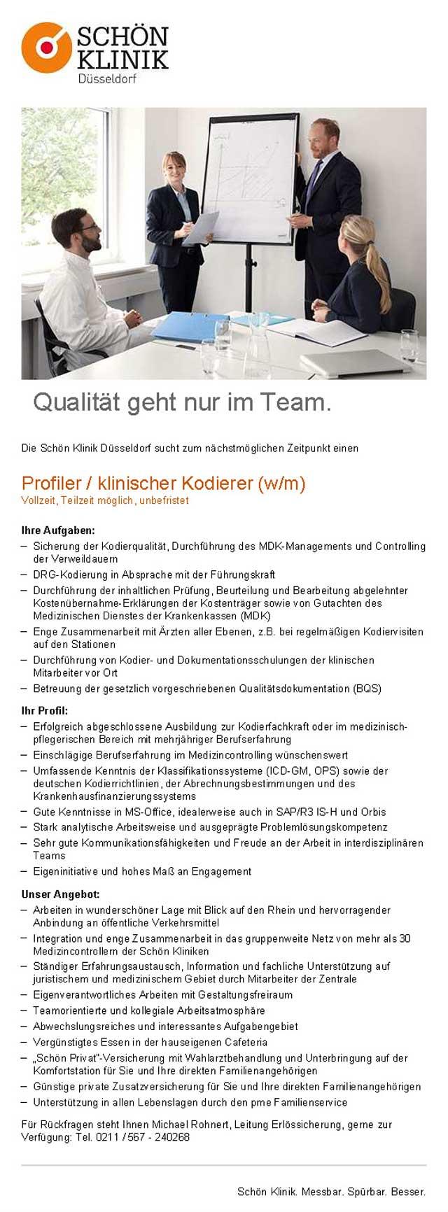 Schön Klinik Düsseldorf: Profiler / klinischer Kodierer (w/m)
