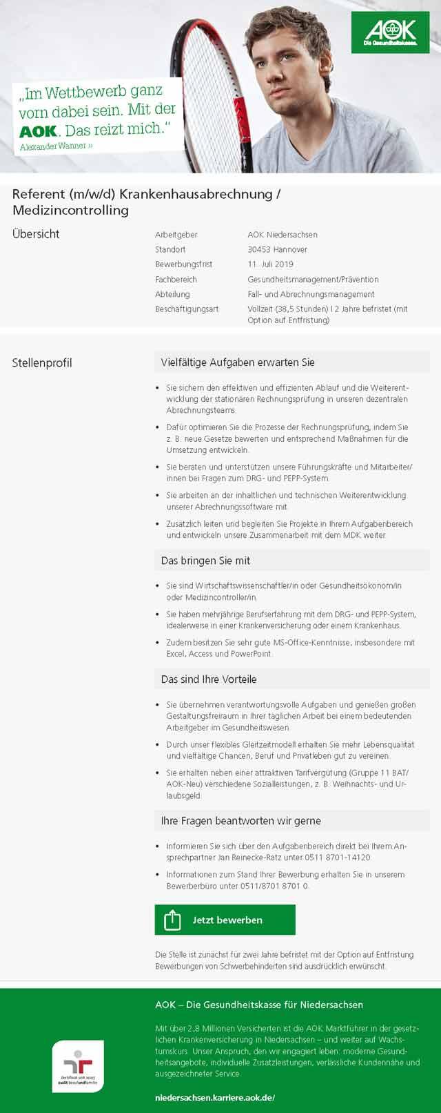 AOK Niedersachsen: Referent Krankenhausabrechnung / Medizincontrolling (m/w/d)