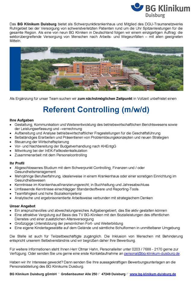 BG Klinikum Duisburg: Referent Controlling (m/w/d)