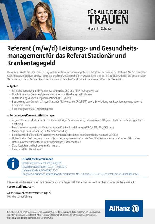 Allianz Private Krankenversicherungs-AG: Referent Leistungs- und Gesundheitsmanagement(m/w/d)