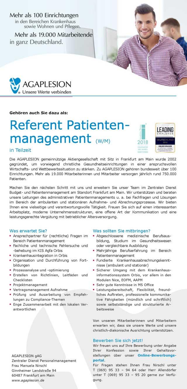 AGAPLESION gAG, Frankfurt am Main: Referent Patientenmanagement (w/m)