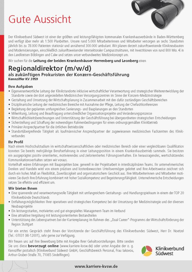 Klinikverbund Südwest: Regionaldirektor (m/w/d)