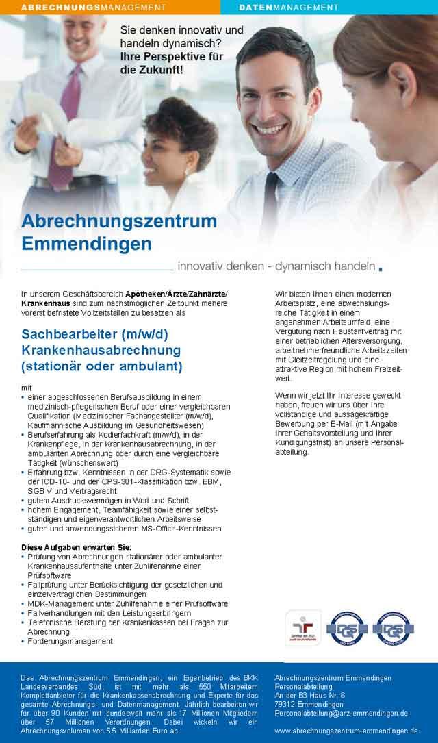 Abrechnungszentrum Emmendingen: Sachbearbeiter Krankenhausabrechnung (m/w/d)