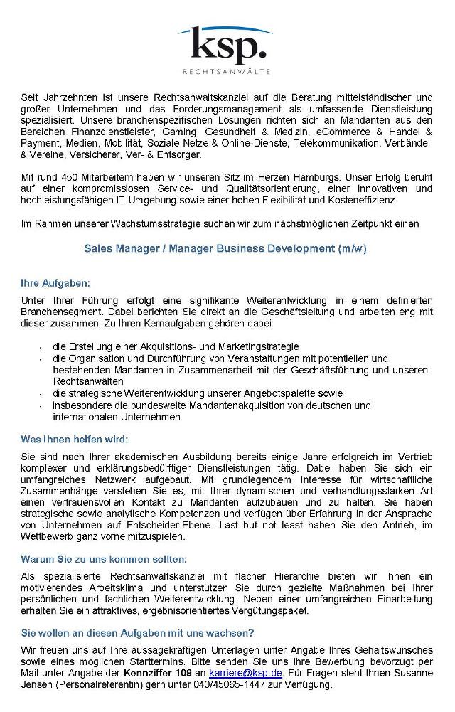KSP Kanzlei Dr. Seegers, Dr. Frankenheim Rechtsanwaltsgesellschaft mbH, Hamburg: Sales Manager / Manager Business Development (m/w)