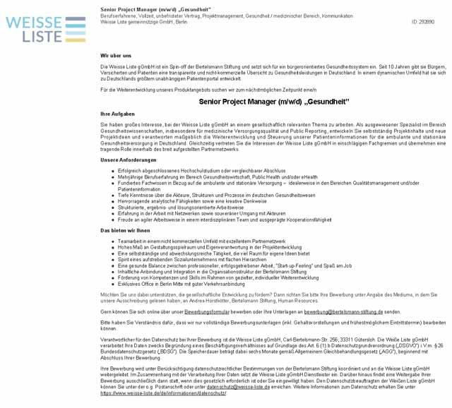 Klinikum Freising: Senior Project Manager Gesundheit(m/w/d)
