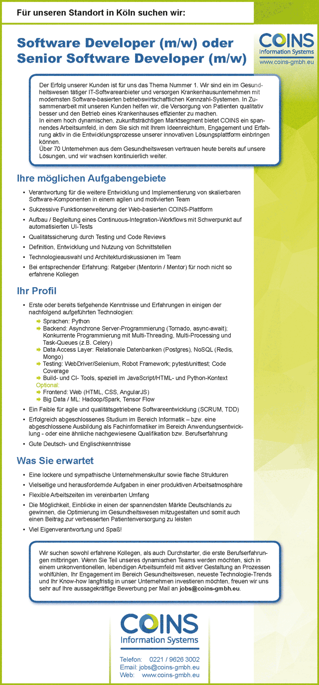 Coins Information Systems GmbH: Business (Senior) Software Developer (m/w/d)