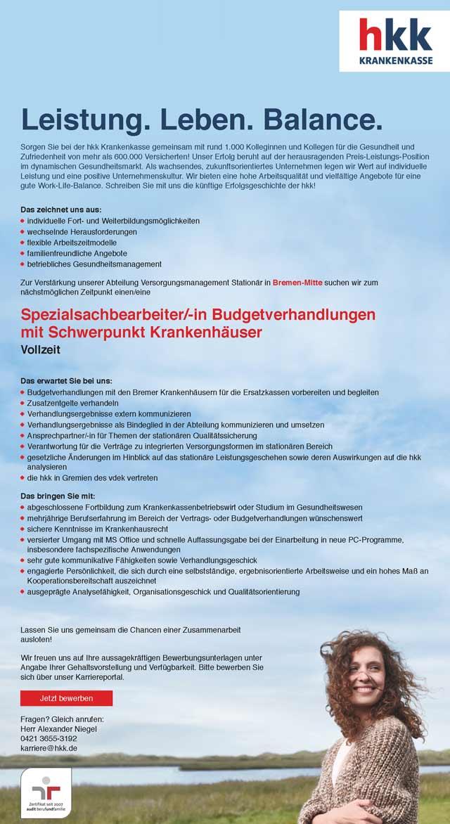 hkk Krankenkasse Bremen: Spezialsachbearbeiter Budgetverhandlung (m/w)