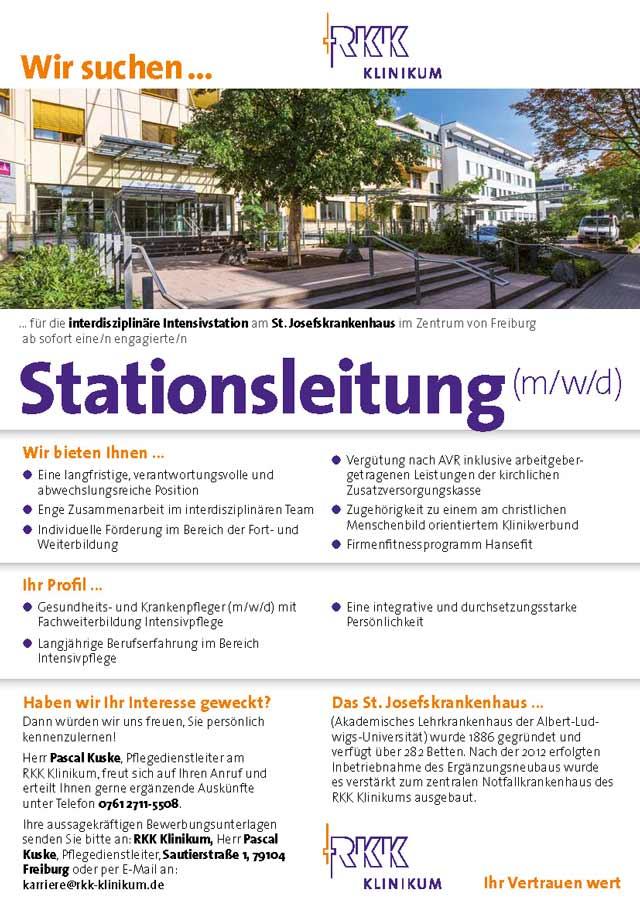 St. Josefskrankenhaus Freiburg: Stationsleitung (m/w/d)
